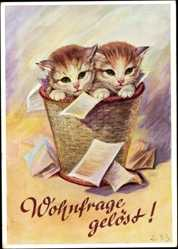 Künstler Ak Oho, Wohnfrage gelöst!, Babykatzen im Korb