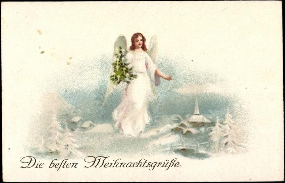 Postkarte glückwunsch weihnachten engel mit tannenbaum in der hand