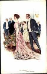 Künstler Ak Underwood, Clarence, The Magnet, Frau in Ballkleid, Männer gucken