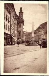 Postcard Ljubljana Slowenien, Straßenansicht, Mestni trg, Marktplatz