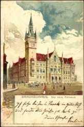 Künstler Litho Trübe, Braunschweig, Neues Rathaus,Pferdekutsche