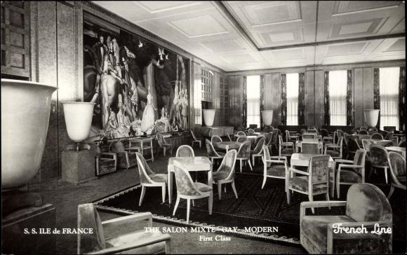 Postcard cgt french line s s ile de france salon - Salon francais moderne ...