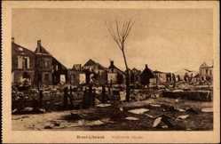 Postcard Brest Litowsk Weißrussland, Verbrannte Häuser des Ortes