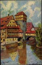 Künstler Ak Jahn, E, Nürnberg, Am Henkerssteg, Brücke, Degi