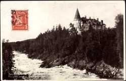 Postcard Imatra Finnland, Valtionhotelli, Kanalpartie mit Blick auf das Hotel