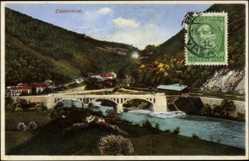 Postcard Zidanimost Slowenien, Blick auf die Stadt mit Fluss und Brücke