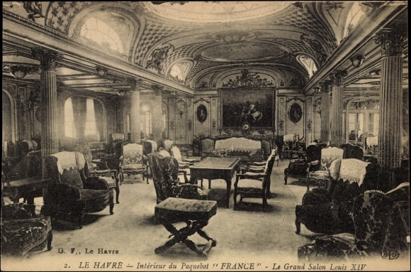 Postcard le havre interieur du paquebot france le for Interieur france