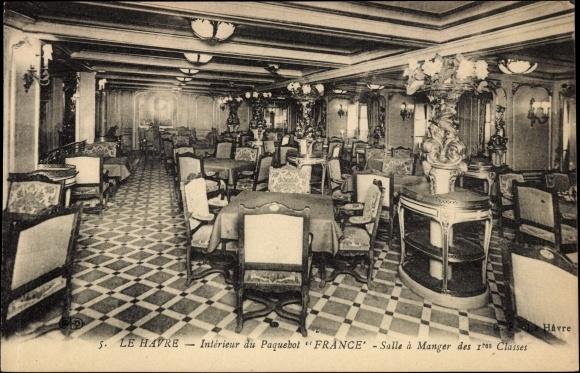 Carte postale le havre interieur du paquebot france for Interieur frans