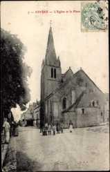Cp Esvres Indre et Loire, vue générale de l'Eglise et la Place