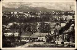 Postcard Krainburg Slowenien, Panorama mit Karawanken, Wohnhäuser, Bahnhof