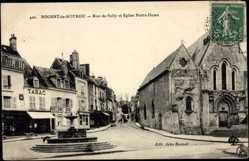 Cp Nogent le Rotrou Eure et Loir, Rue de Sully et Eglise Notre Dame