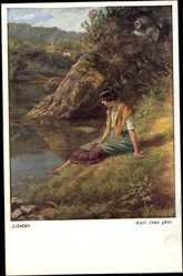 Künstler Ak Zewy, Karl, Libellen, Frau am Flussufer, BKWI 1182