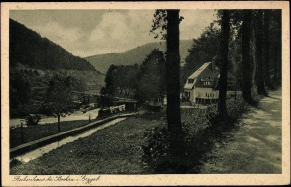 Postcard Rechenhaus bei Bockau Erzgebirge, am Wehr des Flössgrabens, Waldweg