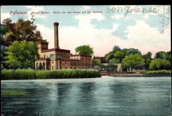 Ansichtskarte postkarte potsdam neuer garten mit blick von der havel auf die meierei - Wohnung mit garten brandenburg an der havel ...