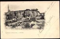 Cp Rochecorbon en Indre et Loire, Les Ruines, Blick zu den Ruinen