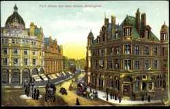 Postcard Birmingham East Midlands, Post Office and New Street