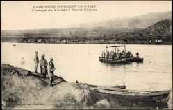 Postcard Demir Capous Mazedonien, Passage du Vardar, bateau