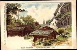 Lithographie Paris, Weltausstellung 1900, Mazots et Cascade, Village Suisse