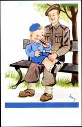 Künstler Ak Henry, Irischer Soldat mit kleinem Jungen
