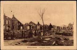 Postcard Brest Litowsk Weißrussland, Verbrannte Häuser, Kriegstrümmer