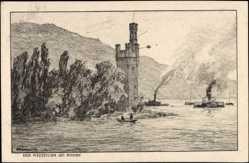 Künstler Ak Ubbelohde, Otto, Bingen am Rhein, Der Mäuseturm, Dampfschiffe