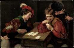 Künstler Ak da Caravaggio, Michelangelo, Der Falschspieler, Kartenspiel, Stengel
