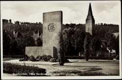Postcard Saarbrücken, 138er Denkmal mit Christ König Kirche