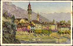Künstler Ak Zuppinger, E., Ascona Kt. Tessin, Gesamtansicht mit Kirche