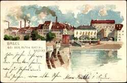 Künstler Litho Voellmy, F., Basel, Partie bei der Alten Rheinbrücke