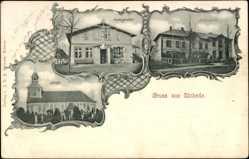 Postcard Eichede Steinburg Kreis Stormarn, Postagentur, Schulhaus, Kirche