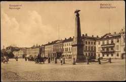 Postcard Helsinki Helsingfors Südfinnland, Salutorget, Kauppatori, Platz, Denkmal