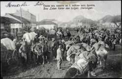 Postcard Monastir Mazedonien, Leben hinter bulgarischen Stellungen, Soldaten, Pferde