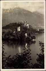 Postcard Bled Slowenien, Blick über das Wasser auf die Kirche und Burg