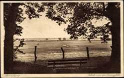 Postcard Ahrensburg, Blick von der Fannyhöh, Feld, Bank