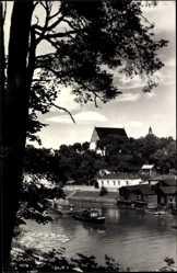 Postcard Borga Porvoo Borgå Südfinnland, Gebäude am Wasser, Boot