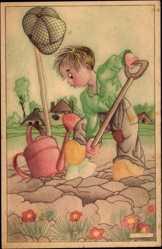 Künstler Ak Links, Karel, L., Junge bei der Gartenarbeit, Schippe, Gießkanne