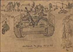 Handgemalt Ak Stu. Gesch. Pz. Jäg. Abtlg. 52, 1949, Panzerjäger
