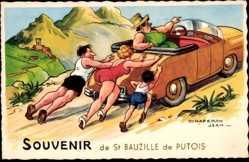 Künstler Ak Chaperon, Jean, St. Bauzille de Putois, Famille, Voiture