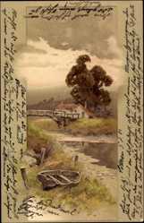 Künstler Litho Landschaft, Idyll, Boot am Fluss, Brücke