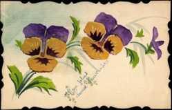 Handgemalt Ak Mon Salus dousx Souvenir, Bunte Blüten