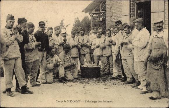 Postcard sissonne aisne camp pluchage des pommes for Sissonne 02
