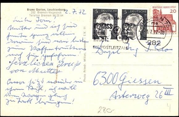 garten bremen, postcard bremen vegesack a.d. weser, bruns garten, | akpool.co.uk, Design ideen