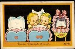 Künstler Ak Vel, Rob, Passé, Présent, Avenir, Kinder im Kinderbett