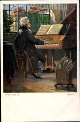 Künstler Ak Nowak, Otto, Komponist Wolfgang Amadeus Mozart am Klavier