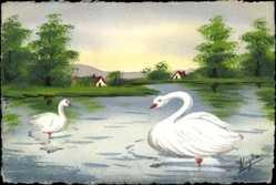 Handgemalt Ak Magda, Zwei Schwäne im Wasser schwimmend