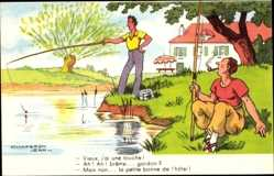 Künstler Ak Chaperon, Jean, Angler am Wasser, Vieux, j'ai une touche