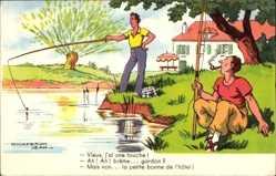 Künstler Ak Chaperon, Jean, Vieux, j'ai une touche, Männer angeln