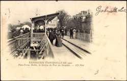 Cp Paris, Exposition 1900, Plate Forme Mobile, Station du Pont des Invalides