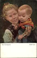 Künstler Ak Lins, Adolf, Die Geschwister, Mädchen, Junge