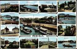 Postcard Riesa Sachsen, Rathaus, Elbkai, Hüttenwerk, Bismarckstraße, Handelsschule